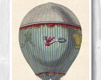 Aerostatic machine print, Hot air balloon, Globe balloon art, Flying machine, Decorative arts, Educational poster, Instant download
