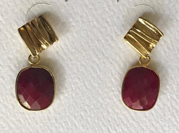 "Ruby Earrings, Gold Earrings, Ruby and Gold Earrings, Dangle Earrings, Post Earrings, Gold Post Earrings,  1"" Long"