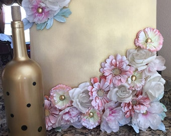 Artificial flowers on canvas