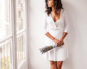 Short wedding dress with sleeves, knee-length, off white dress with 3/4 sleeve, off-white wrap dress, convertible wedding dress with sleeves