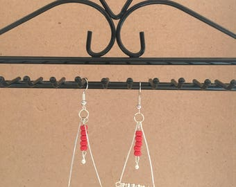 Silver earrings red and white