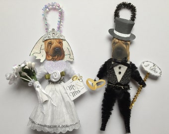 Shar Pei BRIDE & GROOM ornaments Wedding Dog ornaments vintage style chenille ORNAMENTS set of 2