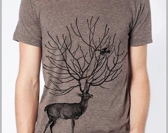 Deer and Bird Men's Tee T Shirt American Apparel Tshirt XS, S, M, L, XL 9 COLORS Gift for him T-shirt
