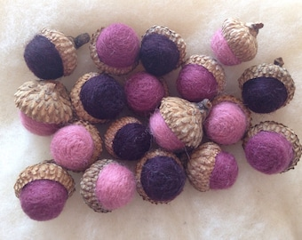 18 wool felted acorns: eggplant, onion and mauve