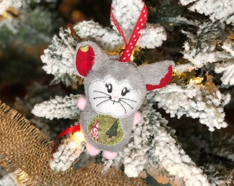 Christmas Mouse Ornament - Plush Mouse Ornament - Soft Ornament - Handmade - Christmas Decor - Christmas Ornament - Christmas Gift