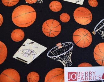 Basketballs from the Sports Collection by Elizabeth Studio, Quilt or Craft Fabric, Fabric by the Yard.