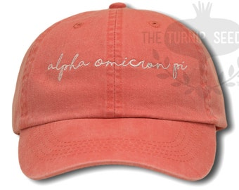 Alpha Omicron Pi Handwriting Script Sorority Baseball Cap - Custom Color Hat and Embroidery