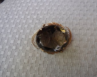 14K Smoky Topaz brooch/pin