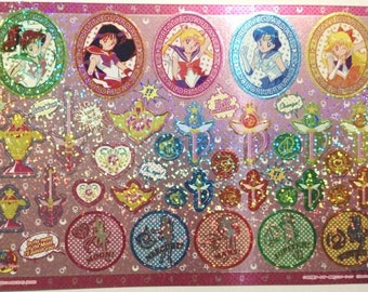 Sailor Moon 20th Anniversary Large Shiny Stickers in Cardboard Holder - Type 6 Amekome - Reference A6041A6099-100A6422