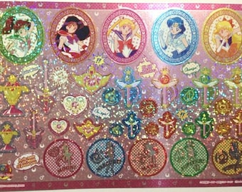 Sailor Moon 20th Anniversary Large Shiny Stickers in Cardboard Holder - Type 6 Amekome - Reference A6422A6627-29