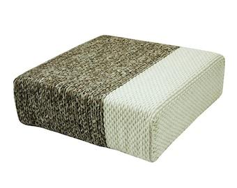 Handmade Wool Braided Square Pouf | Natural/Snow White | 90x90x30cm | Handwoven Ottoman Floor Cushion