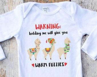 Llama Onesies®, Warm Fuzzies, Llama Baby Onesie, Winter Onesie, Baby Gift, Graphic Onesie, Baby Singlet, Christmas Shirt, Holiday Baby Girl