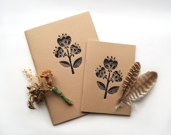 Tulip Flowers- A5 & A4 Sketchbook Lino Print Kraft Card Cover