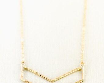 Enakai Necklace - large gold chevron necklace, gold necklace, long gold layered necklace, modern gold necklace, hawaii jewelry, maui, hawaii