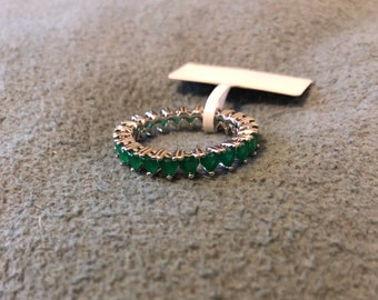 Natural emerald eternity sterling silver ring