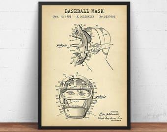 Baseball blueprint etsy baseball mask patent art digital download blueprint art baseball fan gifts vintage base ball poster prints baseball sports decor mlb malvernweather Gallery