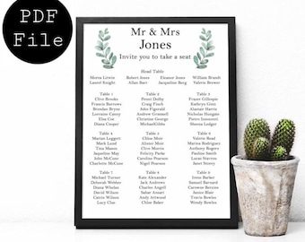 Wedding Seating Plan, Wedding Sign, Seating Plan Sign, Party Seating Plan, Poster, Wedding Menu, Printable, A4, A3, A2, A1, Floral, Modern