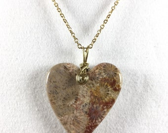 Agatized Coral Heart