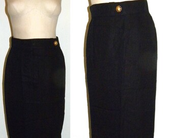 1980's Louis Feraud Pencil Skirt / BLACK Kick Pleat Wiggle Skirt / Structured Minimalist skirt / vintage size 8