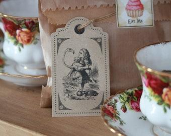 Alice in Wonderland Kraft Brown Vintage Style Gift Tags / Wedding Settings x 6