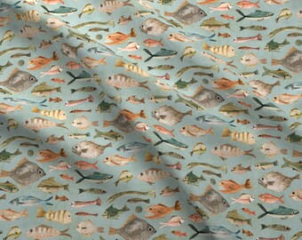 Colorful Fish On Blue Fabric - Fish In Duck Egg Blue By Katherine Quinn - Fish Scales Fins Swim Cotton Fabric By The Yard With Spoonflower