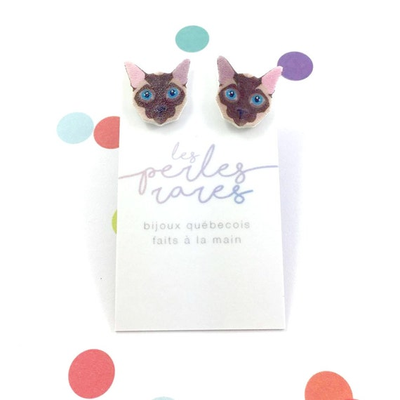 Small, siamese, cat, brown, blue eye, cat head, earrings, plastic, stainless stud, handmade, les perles rares