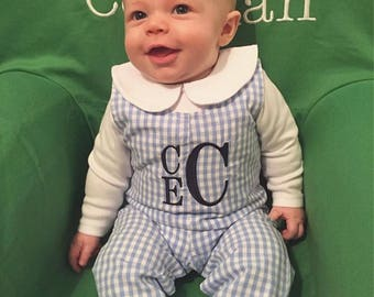 Boys Monogrammed longall, monogram boy jon jon, toddler boy winter outfit, personalized boy clothing, boy holiday outfit,