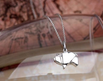 Cute Origami Pig Necklace | Sterling Silver Pig Charm Necklace | Origami Pig Pendant Animal Jewelry