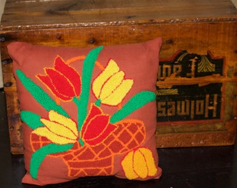 Vintage Cottage Pillow Vintage Hand-hooked Pillow, Colorful Flowers in a Basket,Vintage Decorative Pillow, Basket of Tulips, Home & Living,