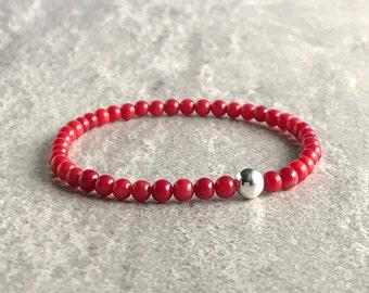 Red Coral Bracelet | Bamboo Coral Jewelry for Women, Men | Sterling Silver Bead Bracelet Set | Crystal Stretch Bracelet