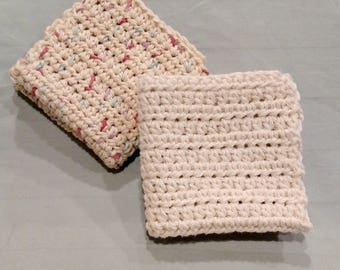 Crochet Dishcloths, Set of 2 Crochet Dishcloths, Free Shipping