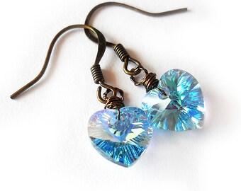 Swarovski Heart Earrings - Aquamarine Blue Swarovski Earrings - Swarovski Blue Heart Earrings - Dangle Love Earrings