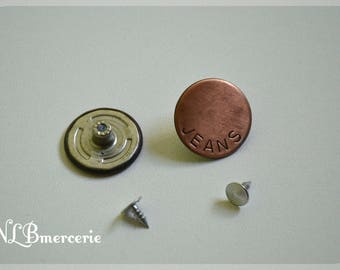 Copper 25 mm with 2 parts Lot 2 jeans buttons