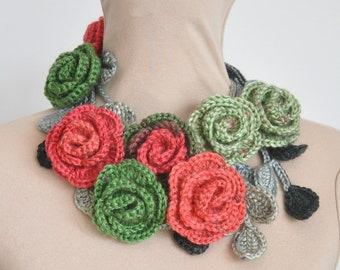 ROSA - Watermelon - Crochet Multi-color Rose Lariat