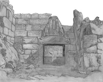 The Lion's gate at the entrance of Mycenae, Greece