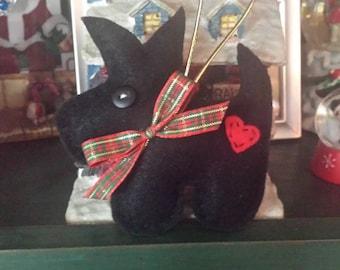 Scottie Dog Handsewn Felt Christmas Ornament