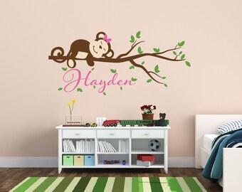 Girl Monkey Decal - Girls Nursery Wall Decal - Monkey Name Wall Decal - Monkey Nursery Wall Decal - Jungle Theme Nursery Decor