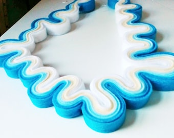 Tropical Waves Statement Felt Necklace, Caribbean Blue Ombre Necklace, Free Form, Ecofriendly Felt Jewelry