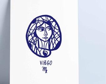 Virgo - Virgin - Zodiac Poster - Digital Print - Original illustrated poster