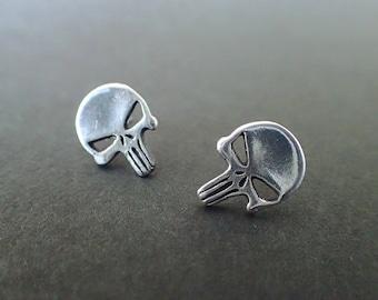 Marvel Punisher + Skull + Silver + Earrings