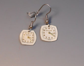 Steampunk Earrings Watch Dial Shepherd Hook Recycled Wrist Watch Face Earrings Benrus Bulova