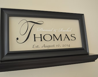 """Anniversary Gift, Personalized Family Name Sign Picture Frame Wall Sign - 11"""" x 21"""""""