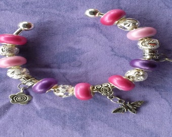 Pinks of spring, Euro style bracelet