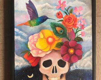 Flower skull on canvas