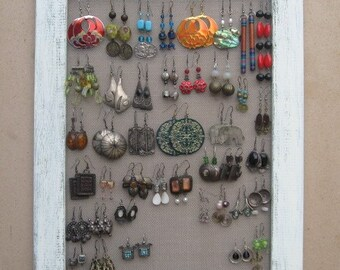 JEWELRY DISPLAY ORGANIZER Cream Shabby Chic / 40 - 50 Earrings / 24 - 36 Necklaces