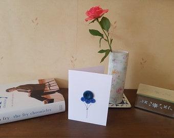 Blue Birthday Balloons - 3D Birthday Card - Birthday Balloons - Buttons - Kraft - White Card - Fun Birthday Card - Blank