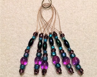 Knitting stitch markers with jewel tone beads