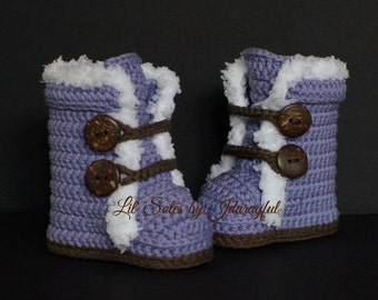 Baby Boots, Crochet Baby Shoes, Crochet Baby Booties, Crochet Baby Boots, Purple Baby Shoes, Baby Girl Boots, Baby Wrap Boots, 0-3 Months