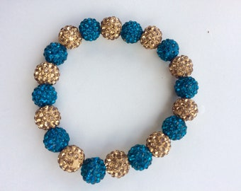 "Teal & Champagne Gold 7.5"" Czech crystal rhinestone clay beaded bracelet"