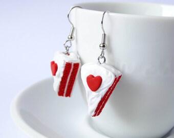 Red velvet cake dangle earrings pie sweet kawaii